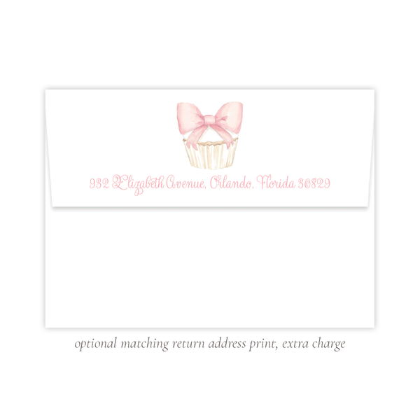 Icing Bow Cupcake Birthday Matching Return Address Print by Sugar B Designs