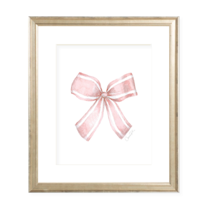 Isabelle Bow Pink Watercolor Print by Sugar B Designs