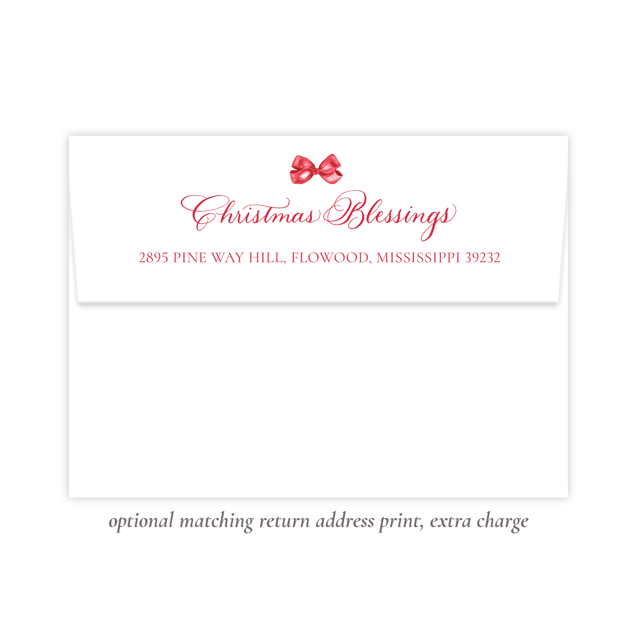 Leslee Red Bow Christmas Return Address Print