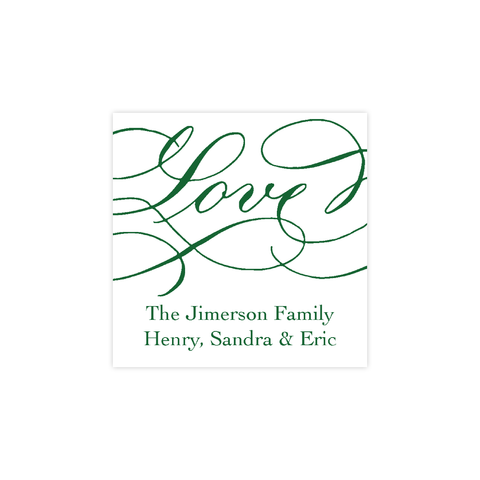 Love Green Calligraphy Christmas Square Sticker