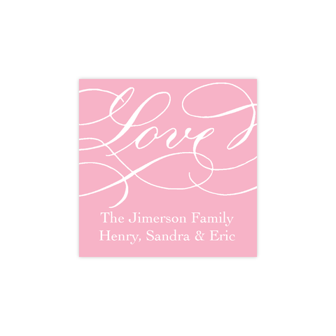 Love Pink Calligraphy Christmas Square Sticker