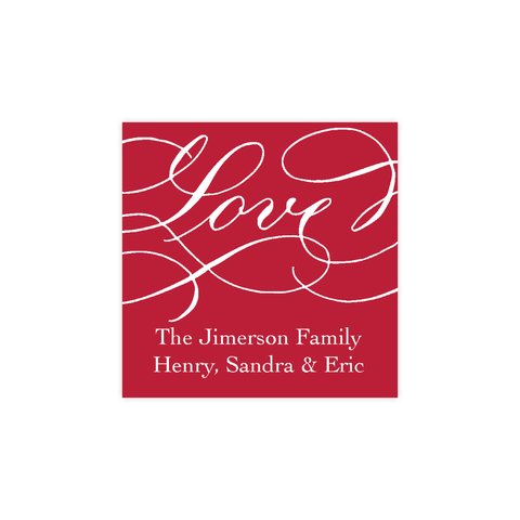 Love Red Calligraphy Christmas Square Sticker