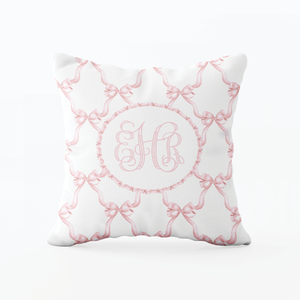Leslee Pink Bow Pillow