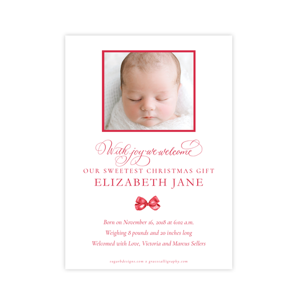Leslee Bow Red Birth Announcement Christmas Card