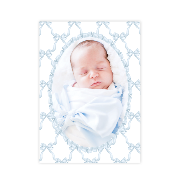 Leslee Bow Blue Birth Announcement