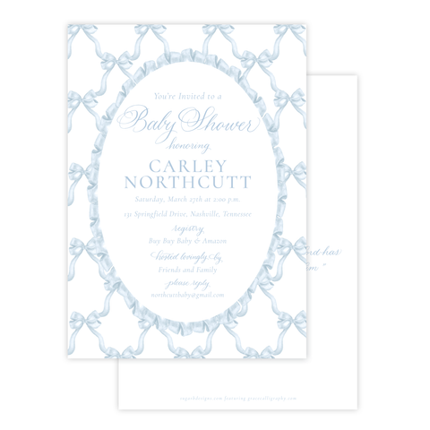 Leslee Bow in Blue Baby Shower Invitation