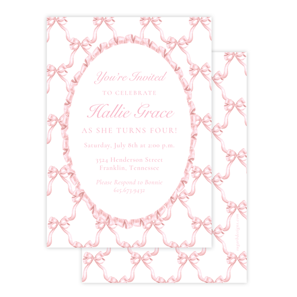 Leslee Bow Pink Birthday Invitation