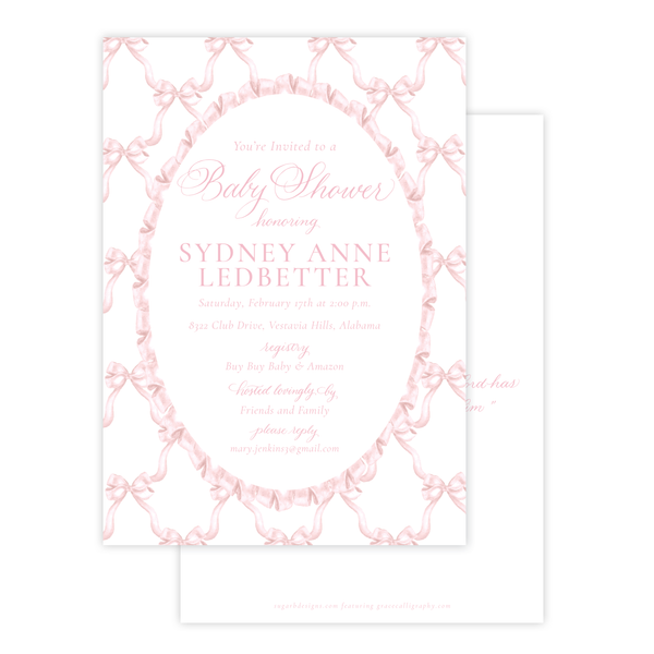 Leslee Bow in Pink Baby Shower Invitation