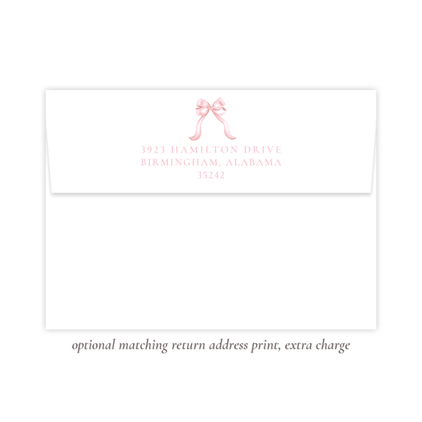 Leslee Bow Pink Fold Over Stationery