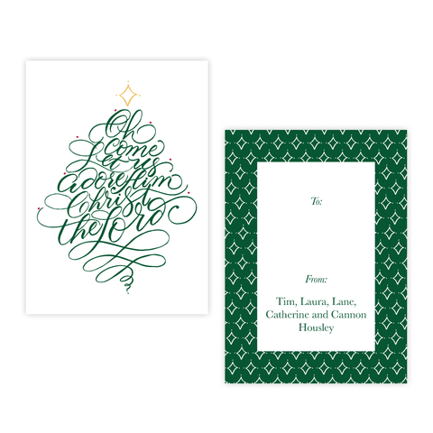 Let Us Adore Him Christmas 4 Bar Christmas Gift Tag