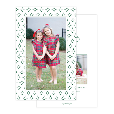 Let Us Adore Him Green Border A9 Christmas Card