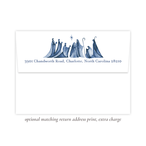Let Us Rejoice Blue Christmas Return Address Print