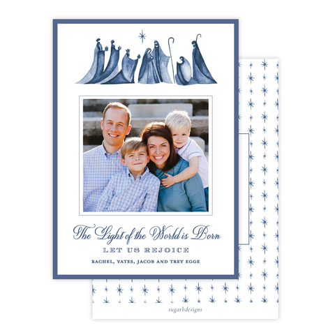 Let Us Rejoice Blue Christmas Card