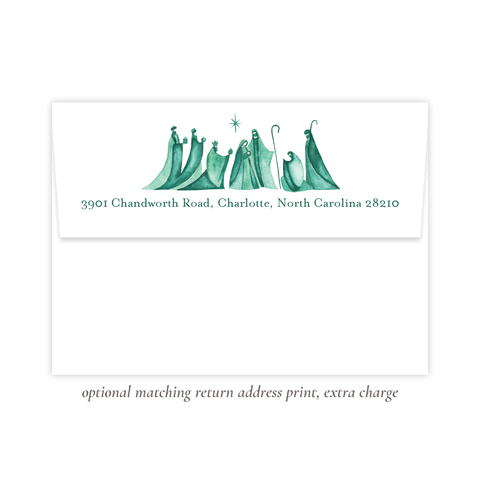 Let Us Rejoice Green Christmas Return Address Print