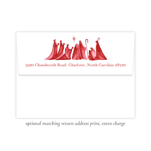 Let Us Rejoice Red Christmas Return Address Print