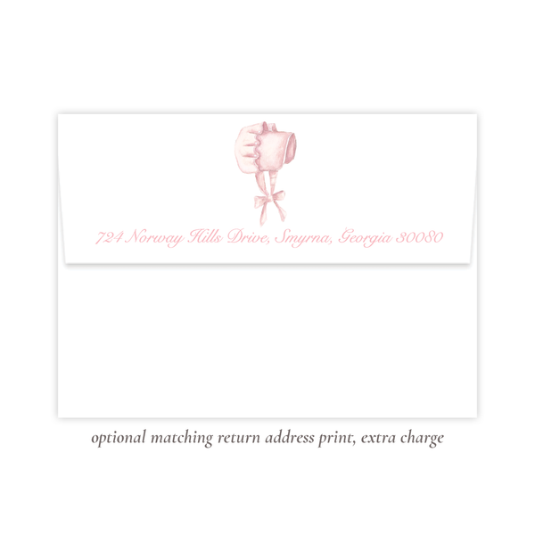 Pink Bonnet Flat Stationery