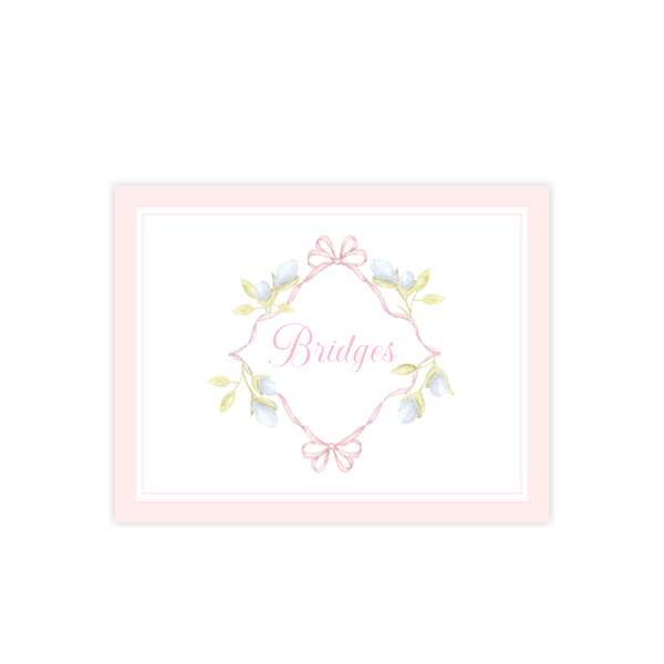 Lovely Lily James Pink Border Name Fold Over Stationery by Sugar B Designs