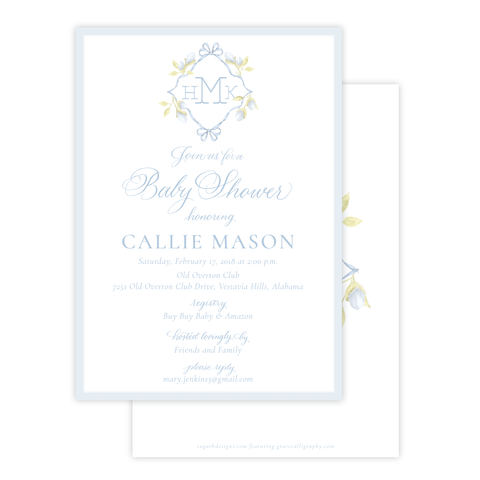 Lovely Lily James Blue Baby Shower Invitation
