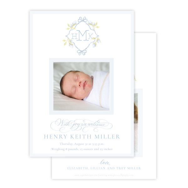 Lovely Lily James Blue Monogram Birth Announcement