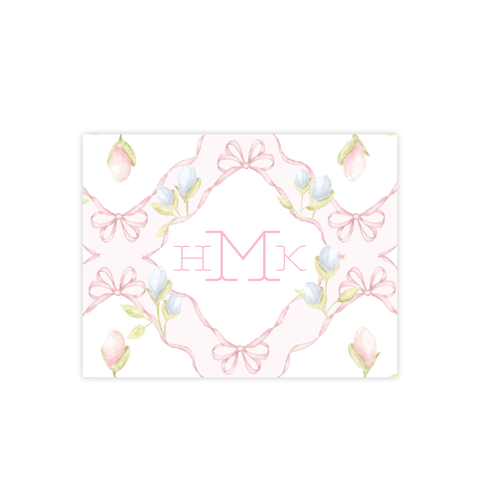 Lovely Lily James Pink Pattern Monogram Fold Over Stationery