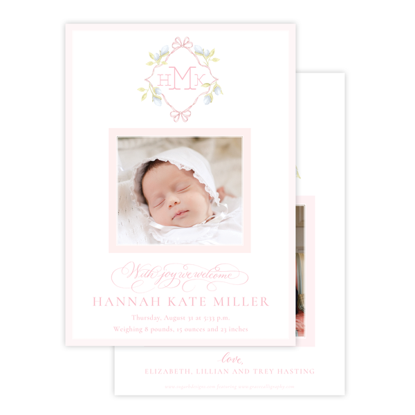 Lovely Lily James Pink Monogram Birth Announcement
