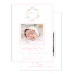 Lovely Lily James Pink Monogram Birth Announcement Christmas Card