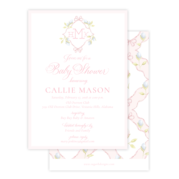 Lovely Lily James Pink Baby Shower Invitation