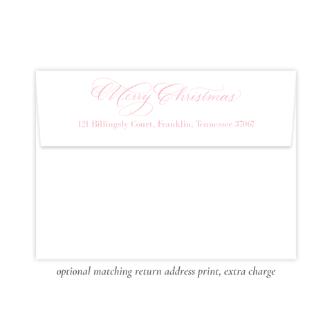 Lovely Lily James Pink Merry Christmas Return Address Print