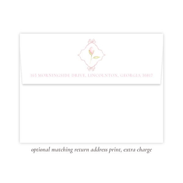 Lovely Lily James Pink Border Monogram Fold Over Stationery