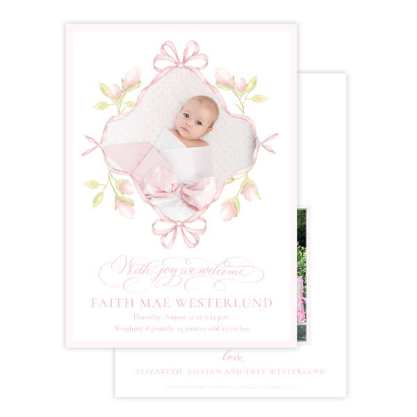 Lovely Lily James Pink Ribbon Birth Announcement