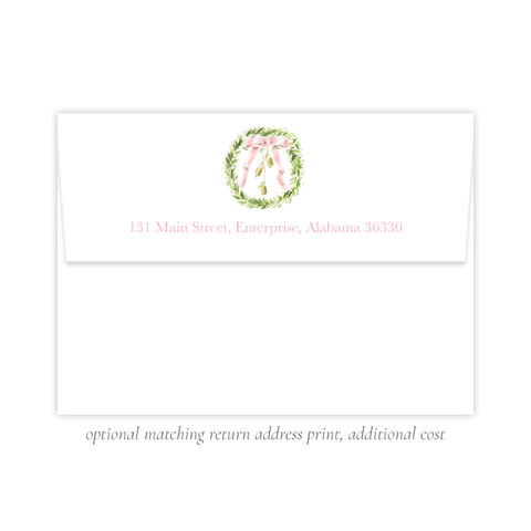 Harrington Wreath Pink A7 Return Address Print