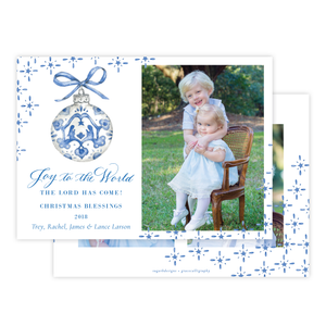 Manger Miracle Blue *2 Photos on Back Horizontal Christmas Card