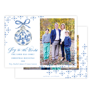 Manger Miracle Blue Horizontal Christmas Card