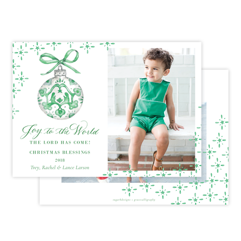 Manger Miracle Green Horizontal Christmas Card