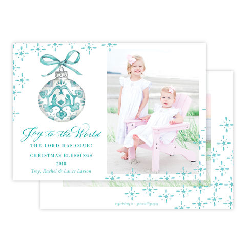 Manger Miracle Seafoam Horizontal Christmas Card