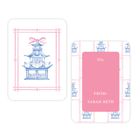Marella Manor Pink and Blue 4 Bar Christmas Gift Tag