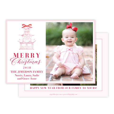 Marella Manor Pink 2018 Landscape Two Photo Christmas Card