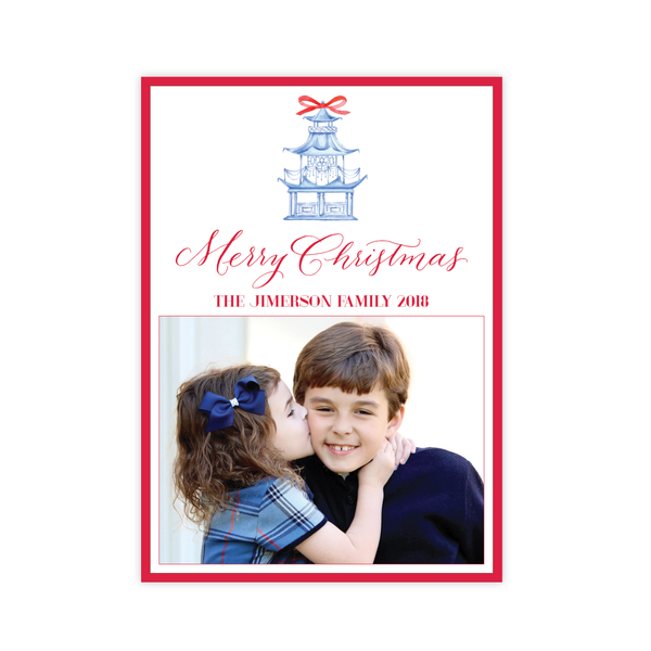 Marella Manor Red Vertical Two Photo Christmas Card