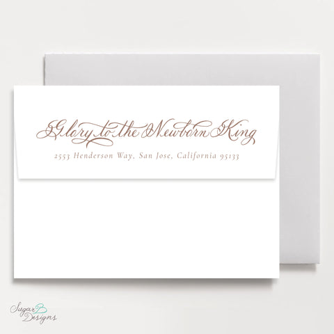 Very Mason Wreath Tan Return Address Print