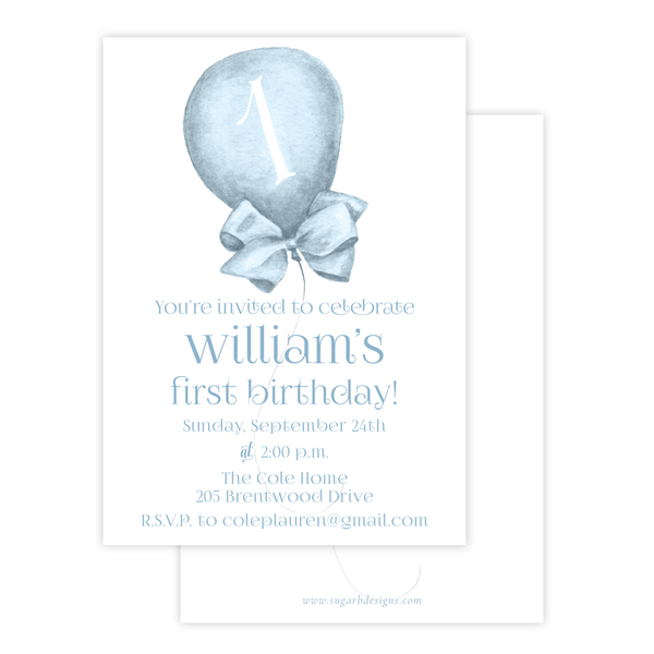 Merry Balloons Blue Birthday Invitation