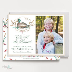 Merry Mallard Red Horizontal Christmas Card