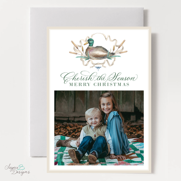 Merry Mallard Blue Vertical Christmas Card