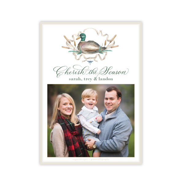 Merry Mallard Blue Pattern Vertical Christmas Card
