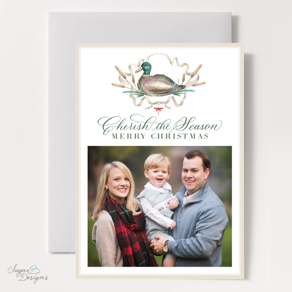 Merry Mallard Red Vertical Christmas Card