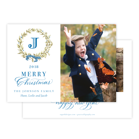Meryl Wreath Blue Landscape Christmas Card