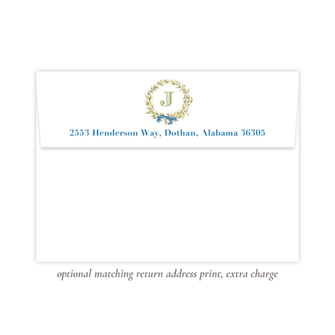 Meryl Wreath Blue Return Address Print