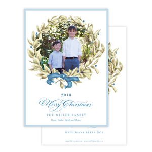 Meryl Wreath Blue Christmas Card