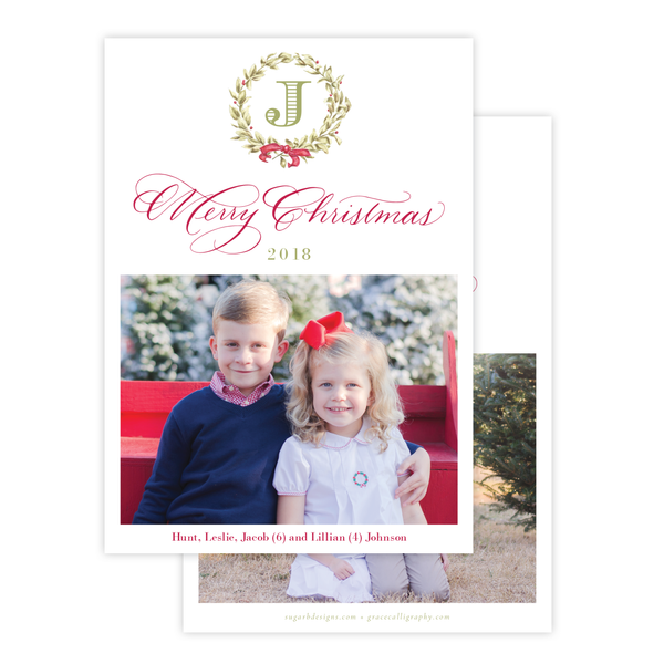 Meryl Wreath Red Small Wreath Vertical Christmas Card