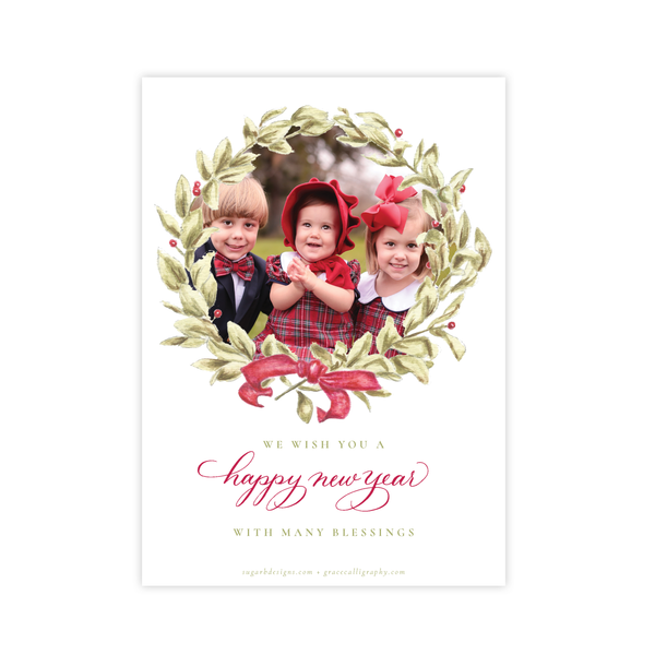 Meryl Wreath Red Christmas Card