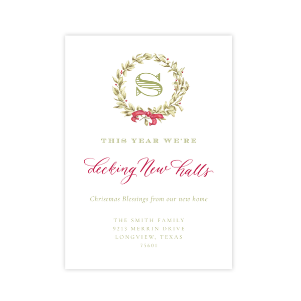 Meryl Wreath Red *No Photo* Change of Address Christmas Card